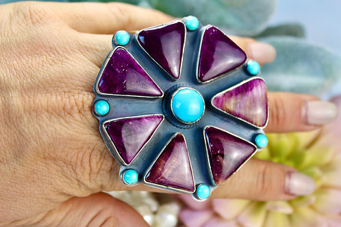 CLUSTER PURPLE SPINY OYSTER RING TONY YAZZIE