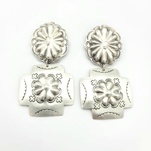 CROSS AND CONCHO STERLING POST EARRINGS