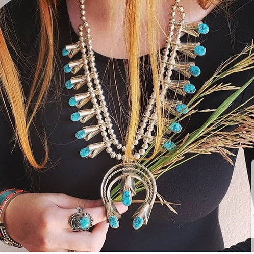 SQUASH BLOSSOM by *Leo Yazzie Kingman Turquoise Necklace