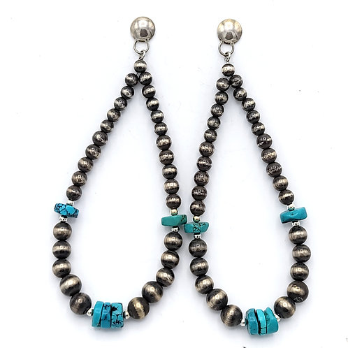"LARGE 4.5""TURQUOISE NAVAJO PEARL EARRINGS"