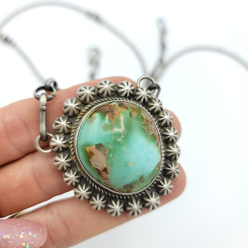 Royston Turquoise PENDANT BENCH AND BOLO CHAIN NECKLACE