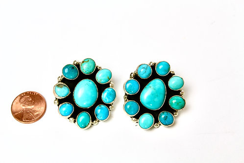 TURQUOISE CLUSTER EARRINGS NATIVE MADE AUGUSTINE LARGO