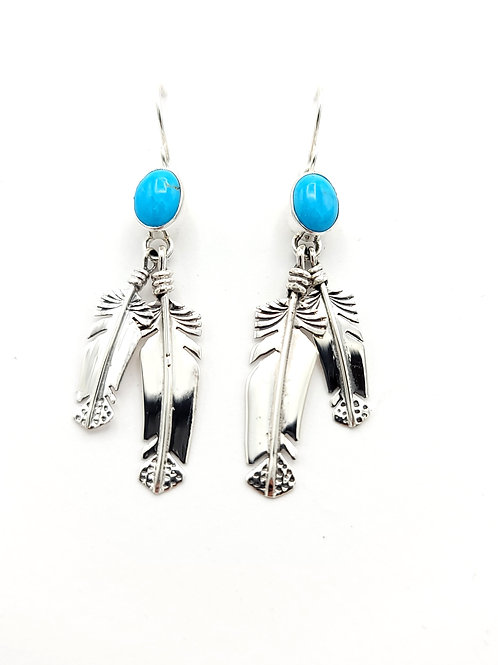 FEATHER STERLING NATIVE MADE TURQUOISE EARRINGS