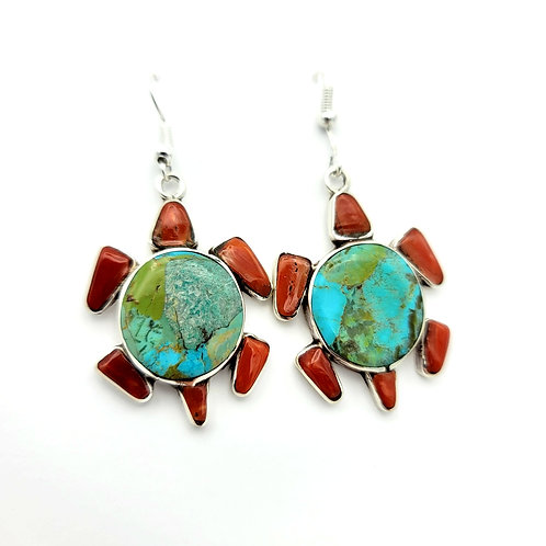 ZUNI TURTLE CORRAL AND KINGMAN TURQUOISE EARRINGS