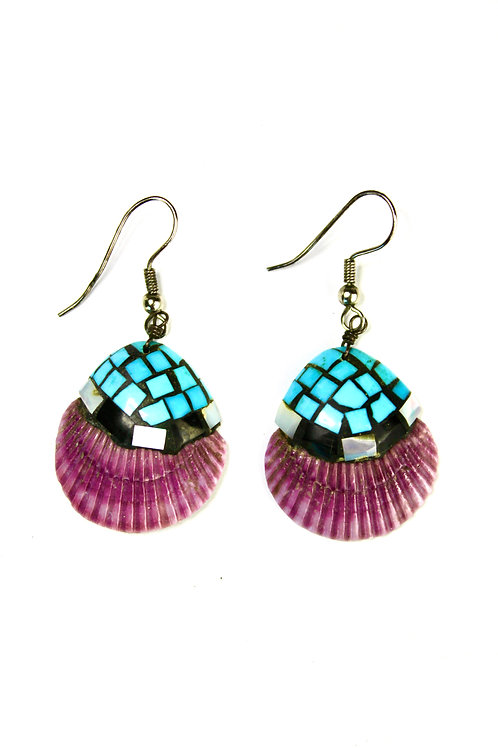 VINTAGE PURPLE SPINY OYSTER TURQUOISE CHIP EARRINGS