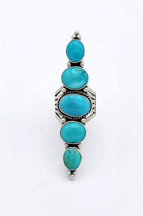 7 TIM YAZZIE ROW STERLING TURQUOISE RING