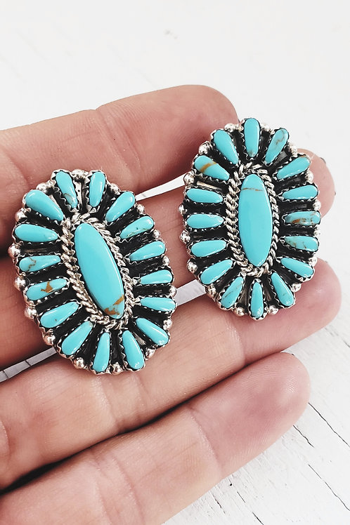 THE DIANTHUS TURQUOISE .925 CLUSTER EARRINGS