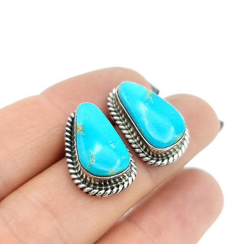 NAVAJO KINGMAN TURQUOISE POST EARRINGS ELOUISE KEE