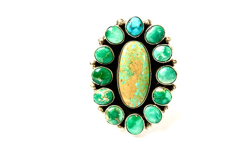 FOX TURQUOISE CLUSTER STATEMENT NAVAJO RING