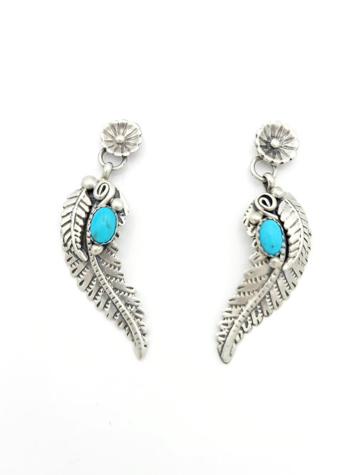 KINGMAN FEATHER STERLING NATIVE MADE EARRINGS