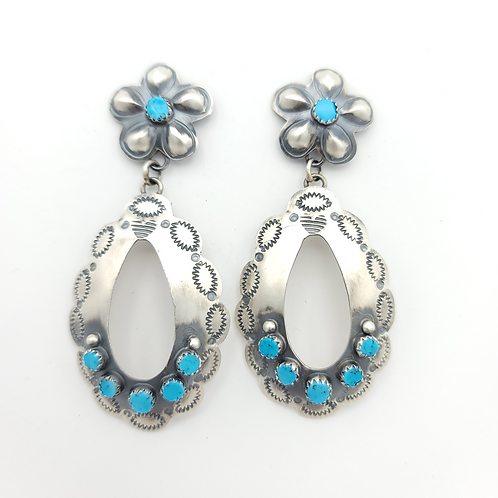 """3"""" TURQUOISE CONCHO EARRINGS BY TIM YAZZIE"""