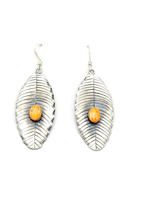 SPINY OYSTER LEAF STERLING EARRINGS