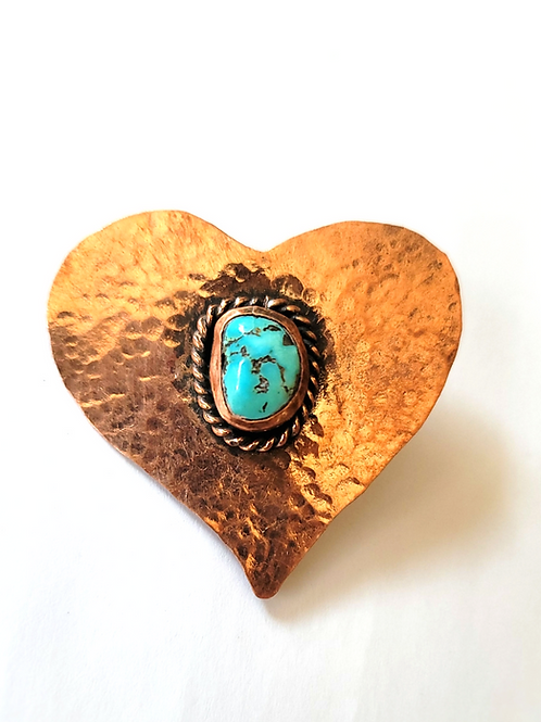 SOLID COPPER TURQUOISE HEART PENDANT