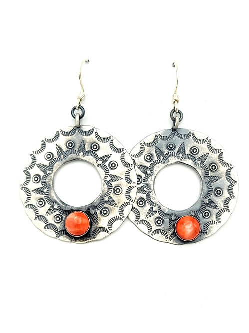 SILVER DISC SPINY OYSTER STAMPED NAVAJO EARRINGS