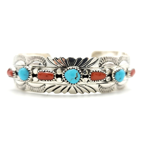 NAVAJO CORRAL AND TURQUOISE CUFF STERLING
