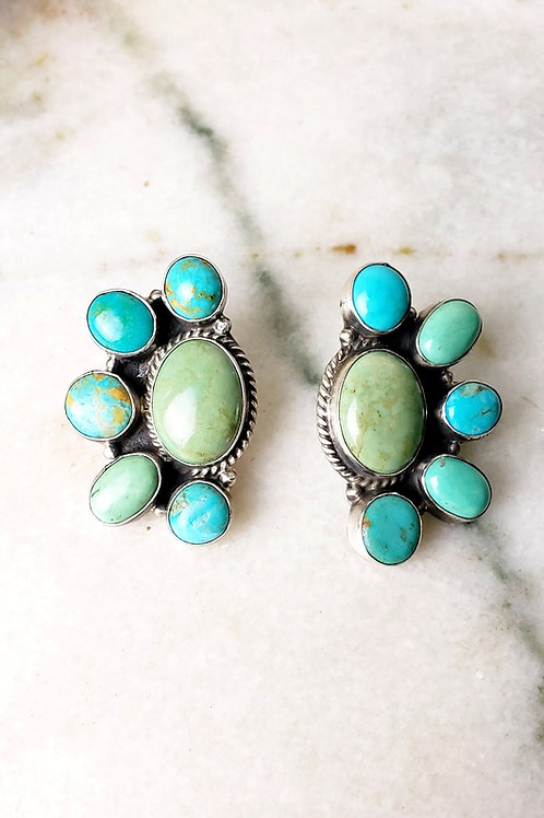 TURQUOISE CLUSTER STERLING SILVER EARRINGS