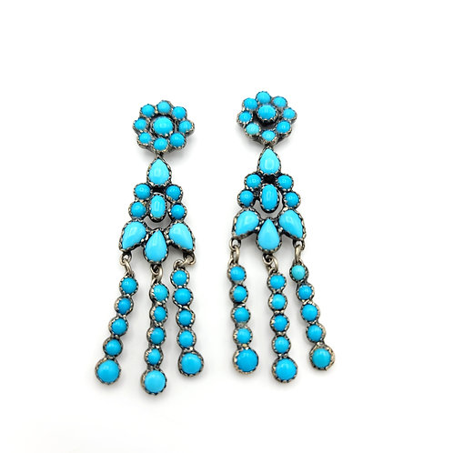 OLD PAWN SLEEPING BEAUTY NATIVE MADE EARRINGS