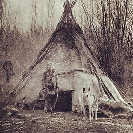 Old photo of Navajo Native American Teepee and Wolf Dog