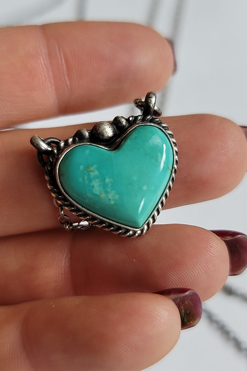 GENUINE NATIVE MADE TURQUOISE HEART NECKLACE