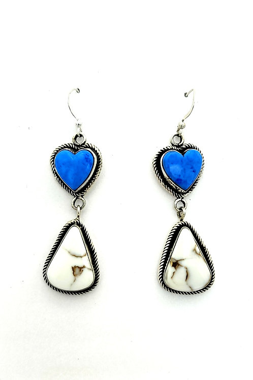 DENIM LAPIS AND WHITE MOHAVE EARRINGS GENUINE NATIVE MADE