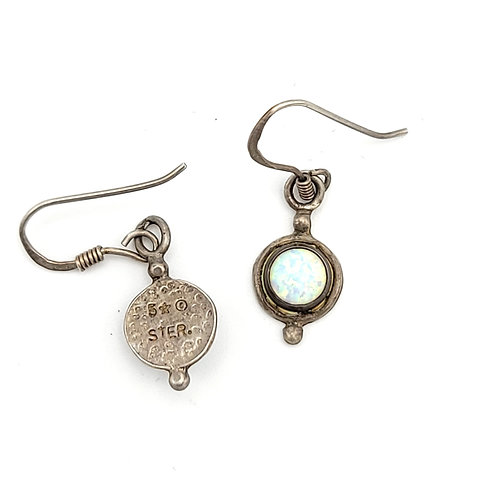 OLD PAWN VINTAGE SILVER OPAL EARRINGS