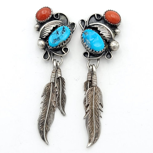OLD PAWN CORRAL AND TURQUOISE FEATHER EARRINGS