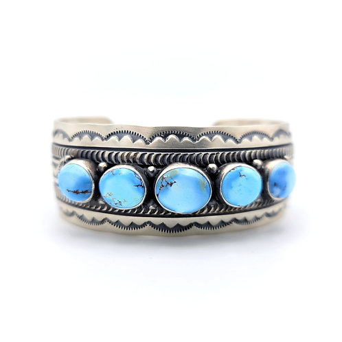 WIDE GOLDEN HILLS TURQUOISE CUFF