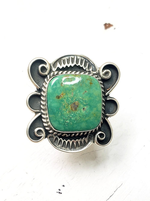 GREEN TURQUOISE SQUARE RING ADJUSTABLE