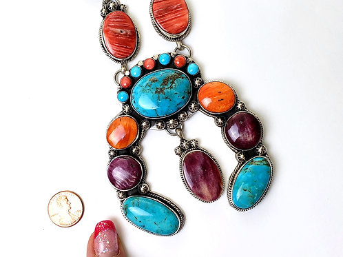 YAZZIE LONG LARIAT NECKLACE WITH TURQUOISE AND SPINY OYSTER