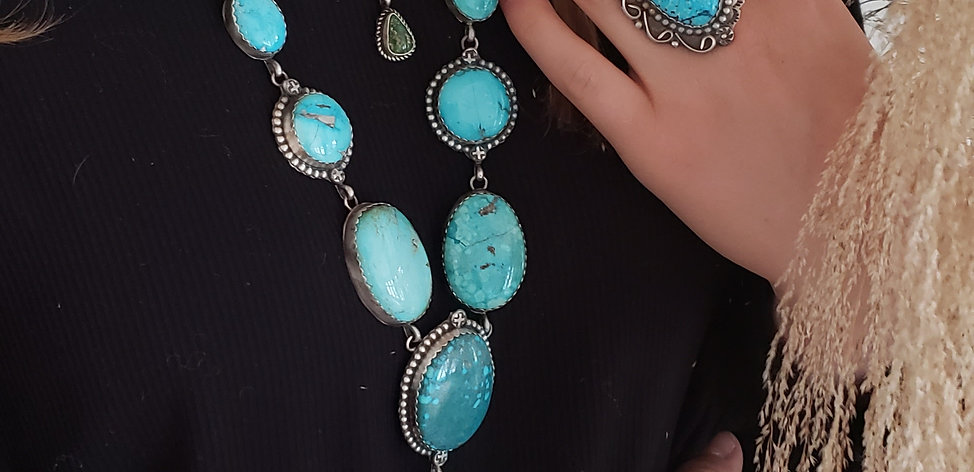 THE SAN JUAN LEIGHA CLEVELAND NAVAJO MADE TURQUOISE LARIAT NECKLACE AUTH