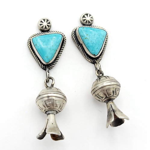 OLD PAWN TURQUOISE SQUASH BLOSSOM EARRINGS