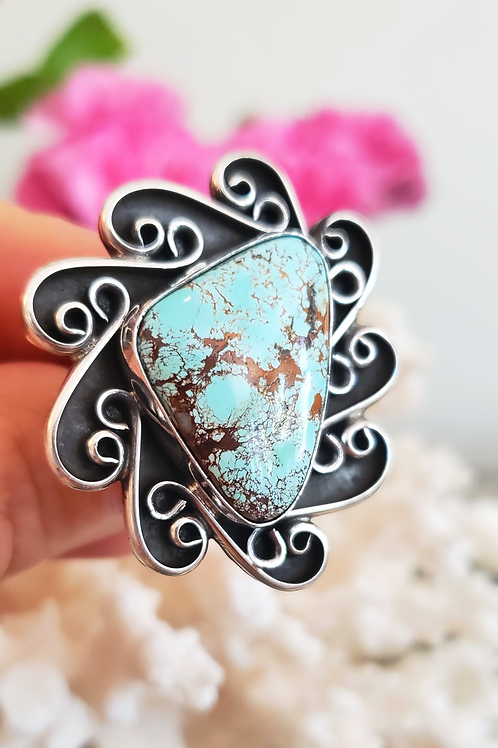 #8 TURQUOISE RING BY MARLENA TOM 5TH GEN NAVAJO ARTIST
