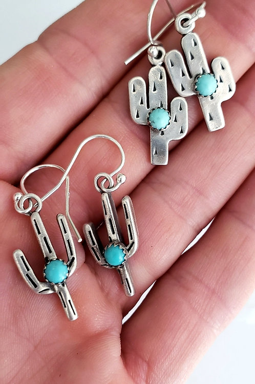 Cactus Earrings by Vanessa with Kingman Turquoise and hand stamped sterling