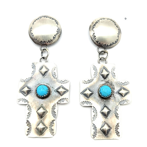 TIM YAZZIE CONCHO CROSS AND TURQUOISE EARRINGS