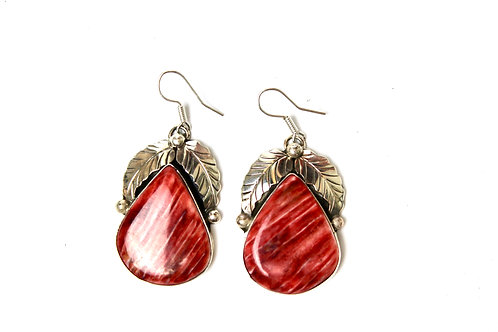 SPINY RED AND ORANGE SPINY OYSTER FEATHER EARRINGS