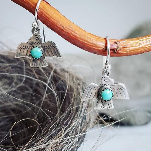 Mini Turquoise Thunderbird Earrings