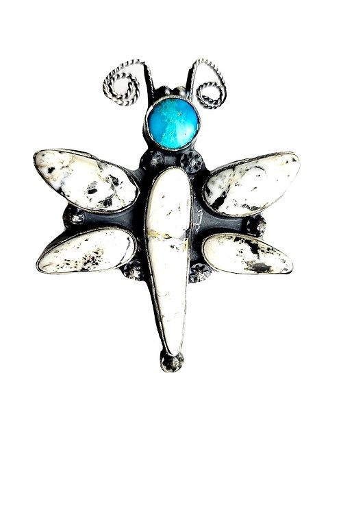 TONY YAZZIE DRAGONFLY WHITE BUFFALO AND KINGMAN TURQUOISE RING