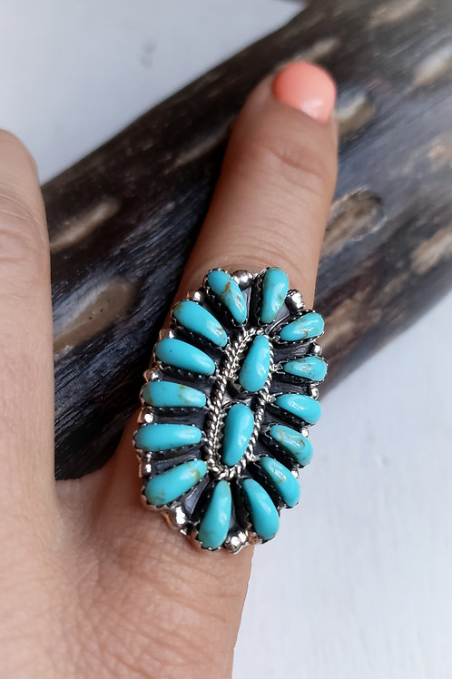 THE SUNFLOWER PETITE POINT ZUNI TURQUOISE CLUSTER RING
