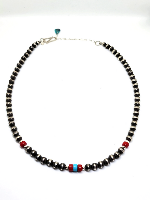 HAND MADE NAVAJO PEARL NECKLACE 4MM