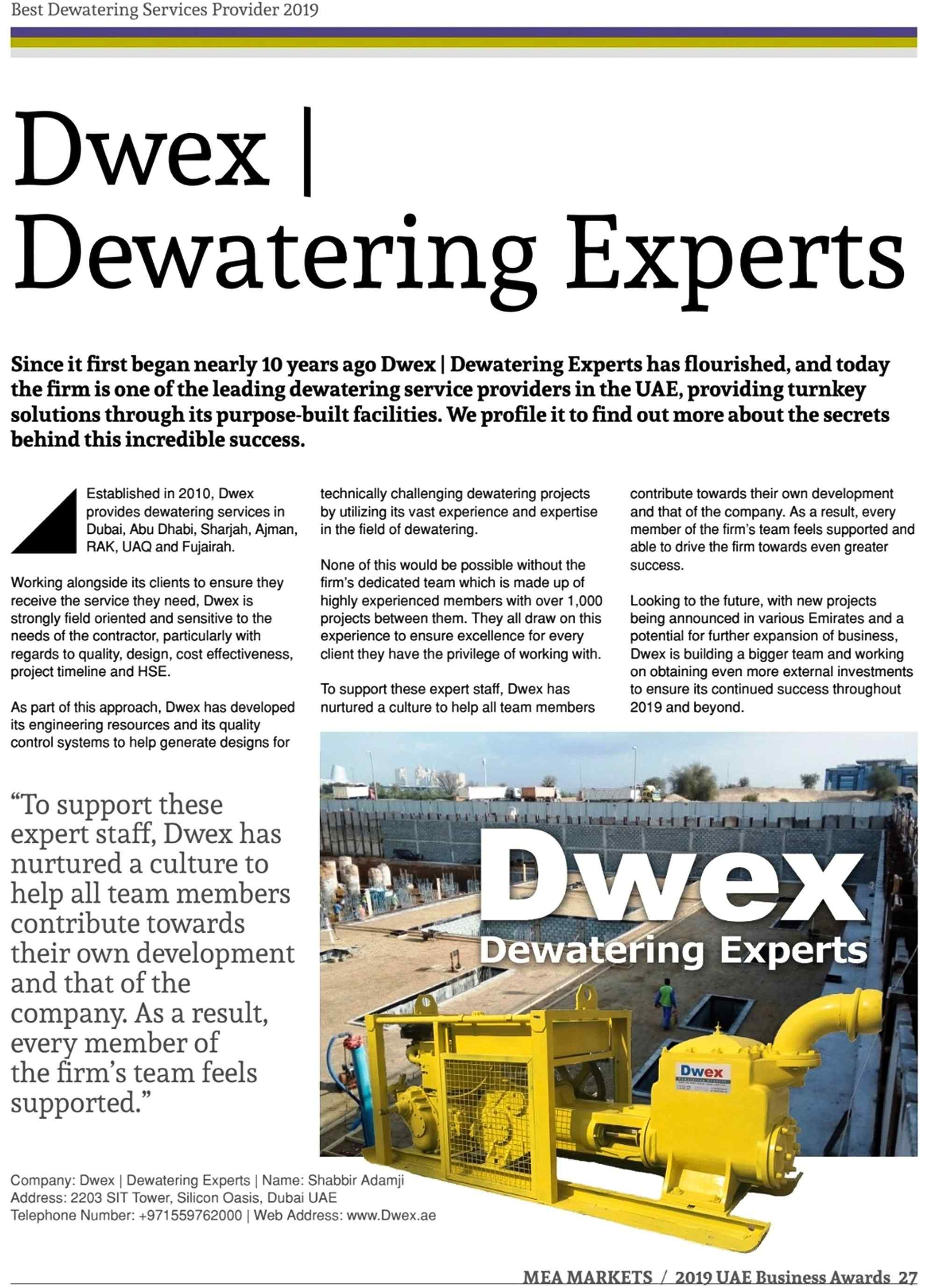 Dwex Dewatering | UAE Business Award 2019 | Dewatering For Companies in Dubai | AbuDhabi | Ajman