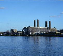Greenwich Power Station and riverside, view from Island Gardens