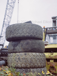 Disused Tyres in Thames Craft Dry Dock Yard