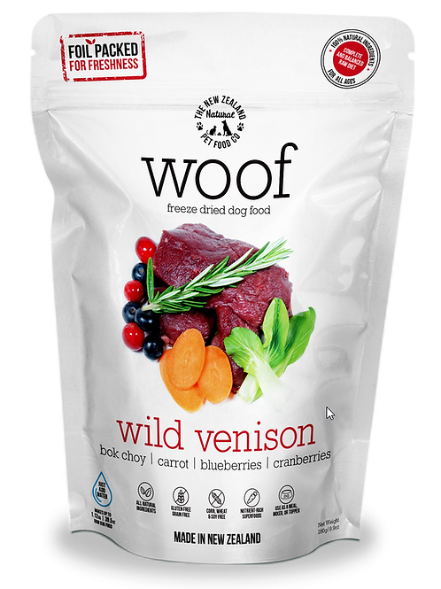 The NZ Natural Pet Food Co Woof Wild Venison Freeze Dried Dog Food 280g