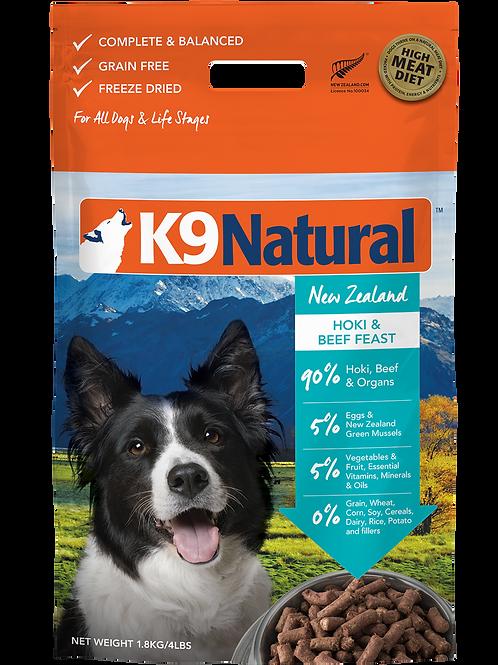 K9 Natural Freeze Dried Hoki Beef Feast Dog Food1.8kg