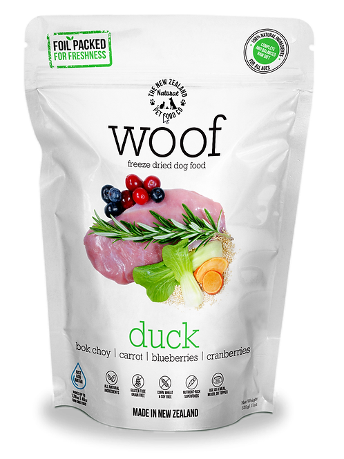 The NZ Natural Pet Food Co Woof Duck Freeze Dried Dog Food 1.2kg