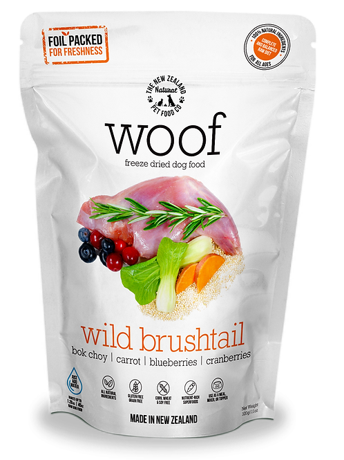 The NZ Natural Pet Food Co Woof Wild Brushtail Freeze Dried Dog Food 320g