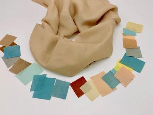 自然染め絹ストールキット ポジャギ生地付
