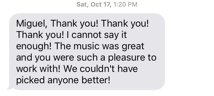 Text from Stephanie day after wedding