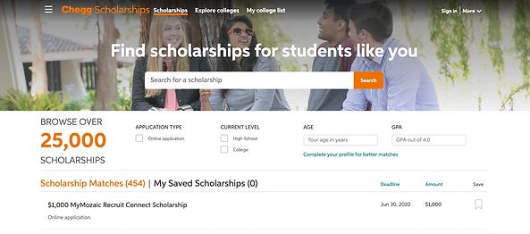 Chegg Scholarship Search