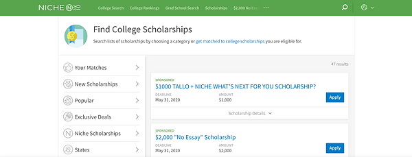 Niche Scholarship Search